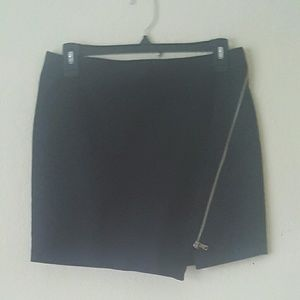 Zara Basic Cross Zipper Mini Black Skirt